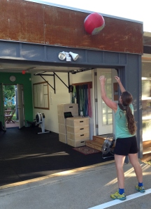 Kristin showing how wall balls should be done.